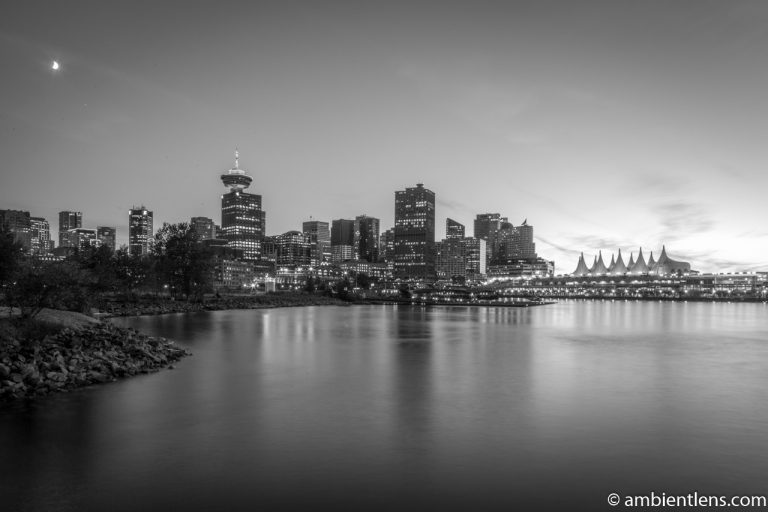 Downtown Vancouver from Crab Park at Sunset 3 (BW)