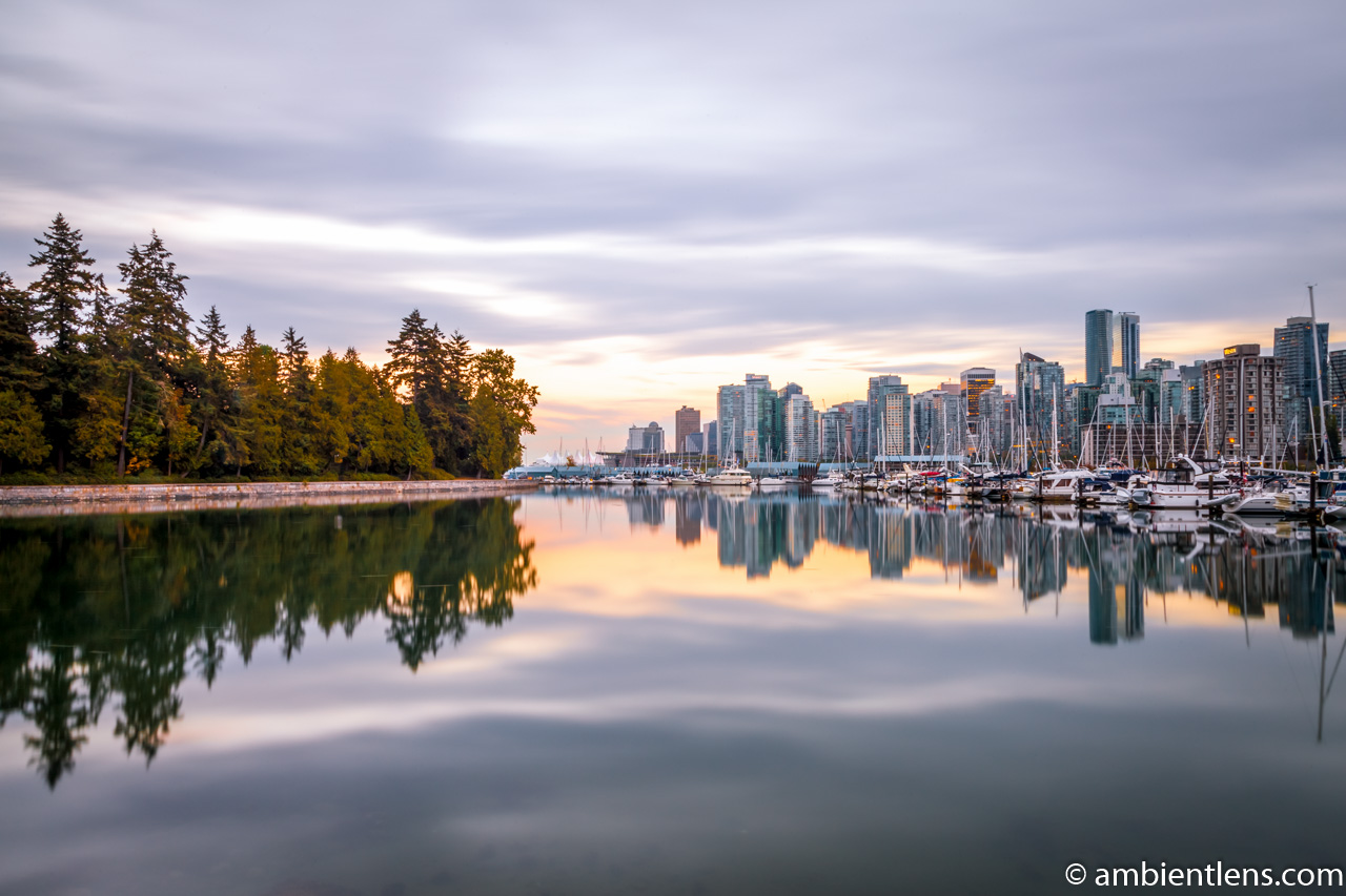 Reflection of Stanley Park and Downtown Vancouver