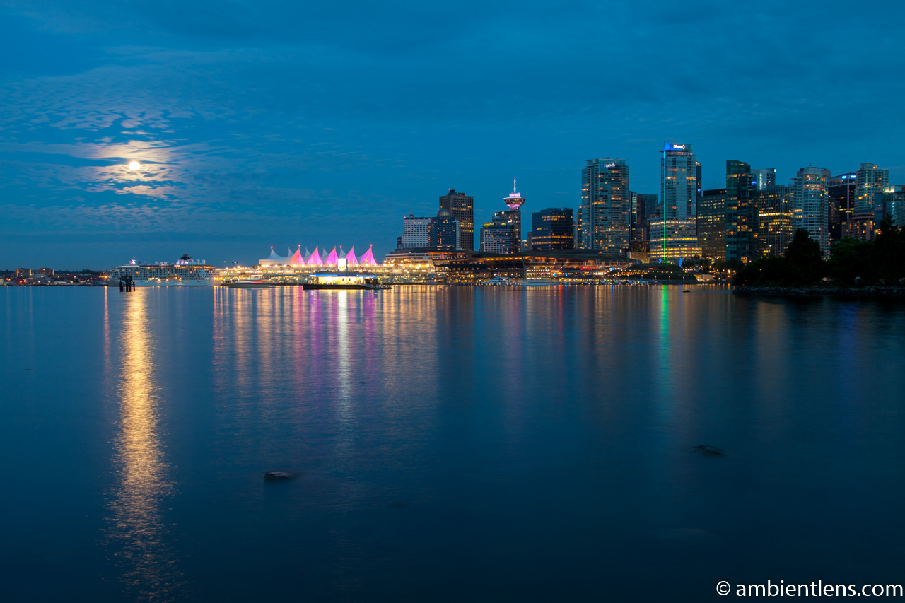 Moon and Downtown Vancouver 2