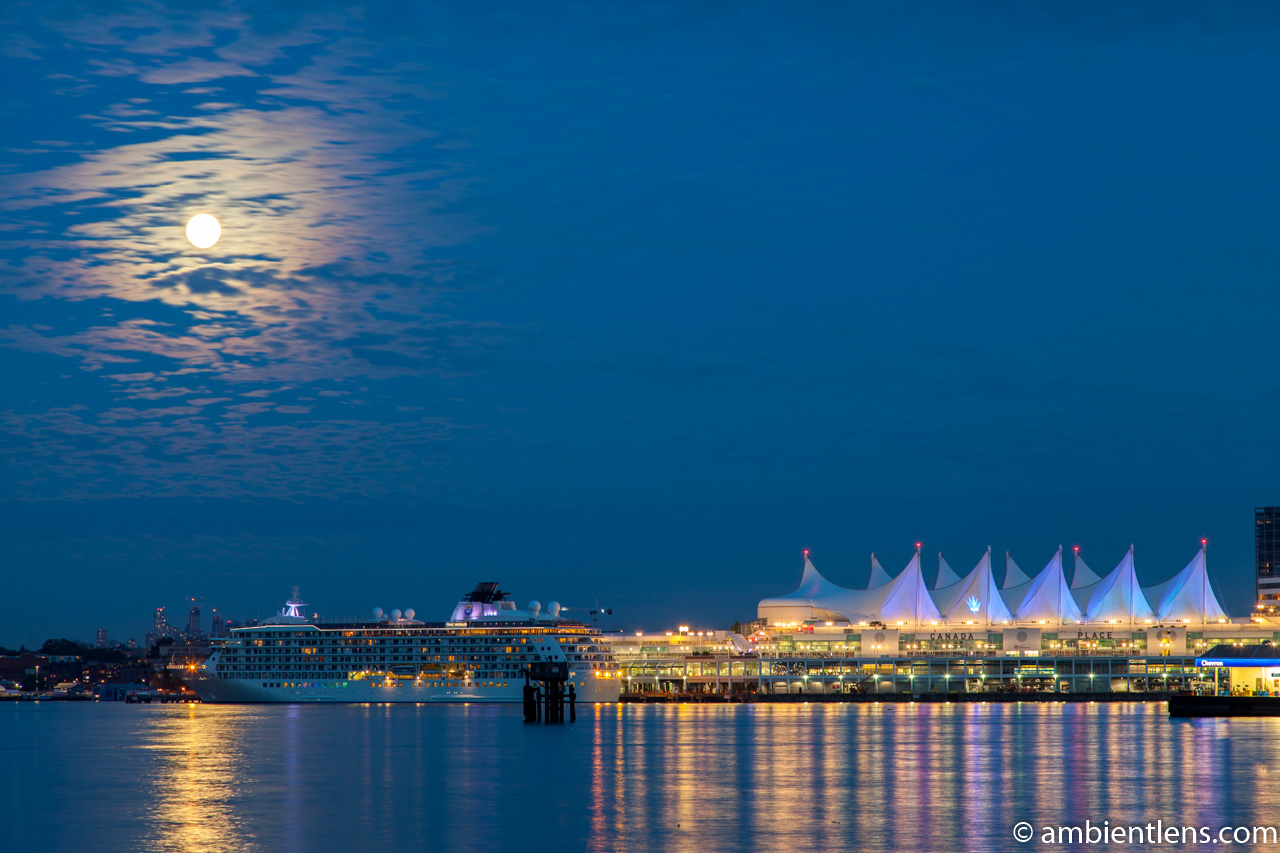 Moon and Downtown Vancouver 1