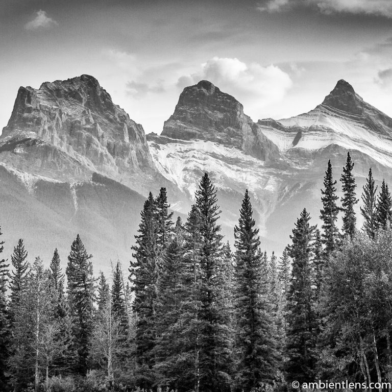Three Sisters, Canmore, Alberta (BW SQ)