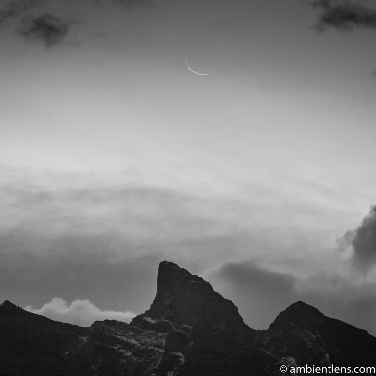 Sunrise and Moonset at Two Jack Lake, Banff, Alberta (BW SQ)