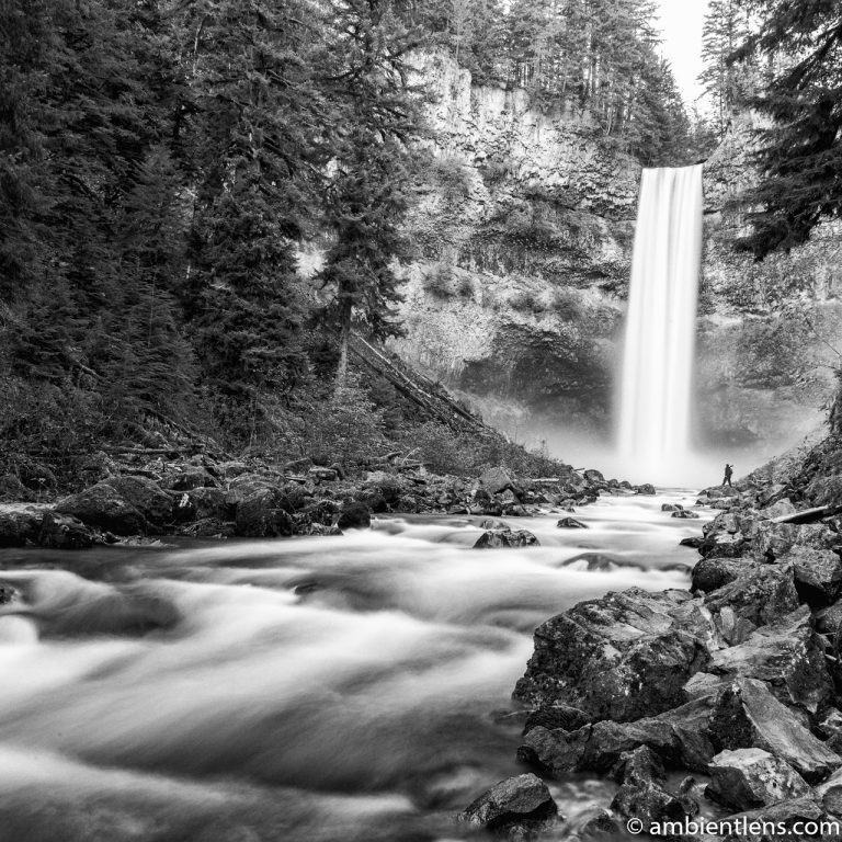 Hiking Brandywine Falls, Whistler, BC (BW SQ)