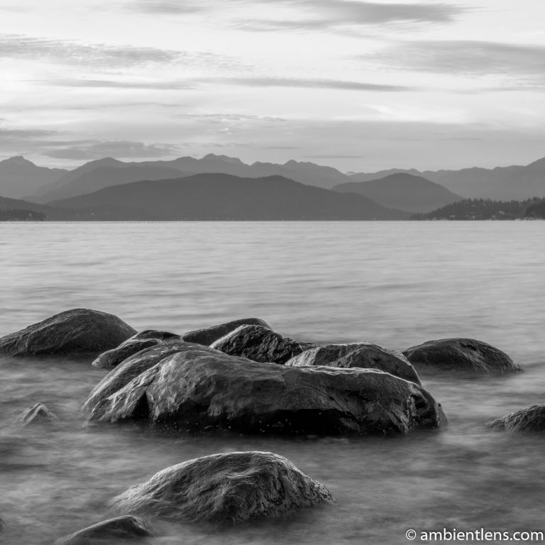 Big Rocks at Acadia Beach, Vancouver, BC 2 (BW SQ)