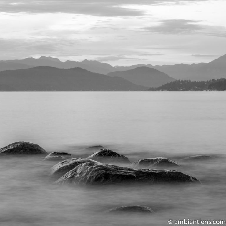 Big Rocks at Acadia Beach, Vancouver, BC 3 (BW SQ)