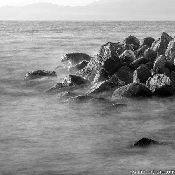 Big Rocks at Acadia Beach, Vancouver, BC 5 (BW SQ)