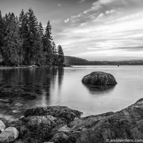 The Beach at Belcarra Regional Park, Anmore, BC 6 (BW SQ)