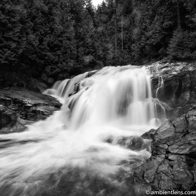 Gold Creek Falls, Maple Ridge, BC 1 (BW SQ)
