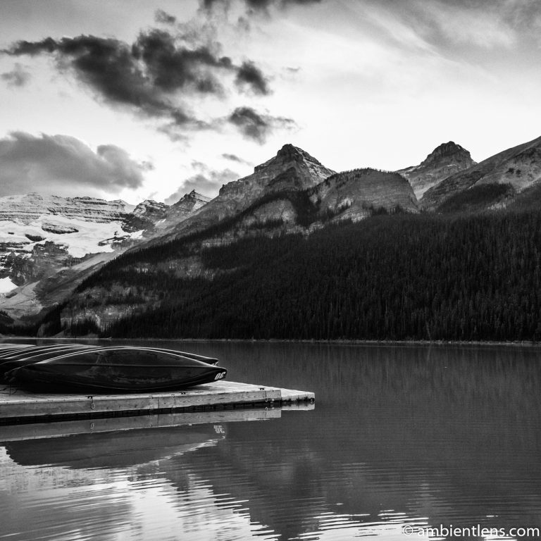 Canoes at Lake Louise, Banff, Alberta 1 (BW SQ)
