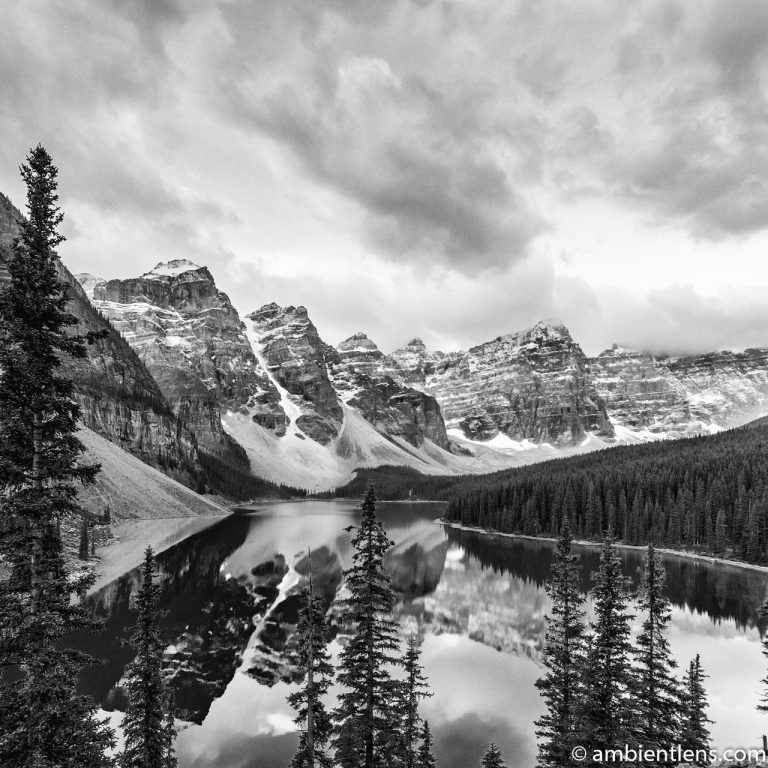 Sunrise at Moraine Lake, Banff, Alberta 1 (BW SQ)
