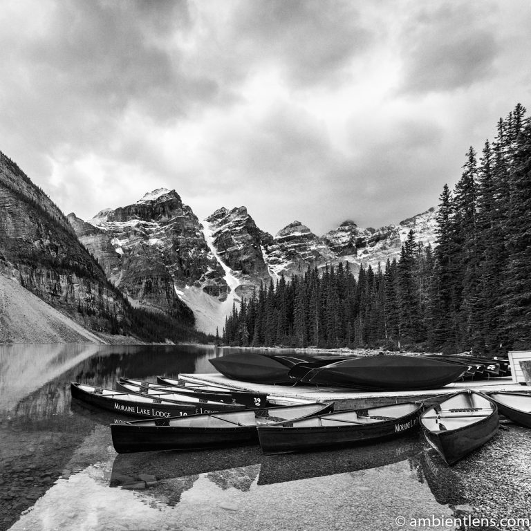 Canoes at Moraine Lake, Banff, Alberta (BW SQ)