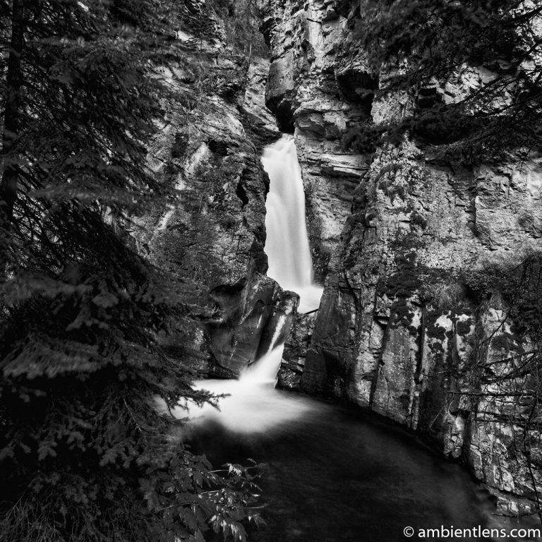 The Lower Falls at Johnston Canyon, Banff, Alberta 1 (BW SQ)