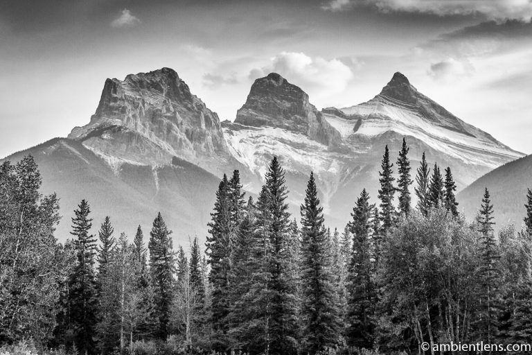 Three Sisters, Canmore, Alberta (BW)