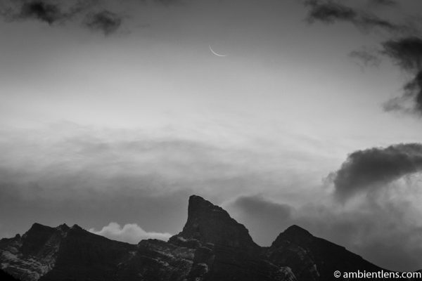 Sunrise and Moonset at Two Jack Lake, Banff, Alberta (BW)