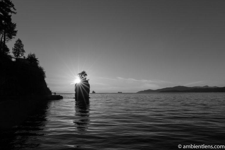 Siwash Rock, Stanley Park, Vancouver, BC (BW)