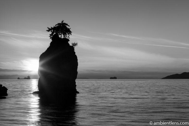 Siwash Rock, Stanley Park, Vancouver, BC 2 (BW)