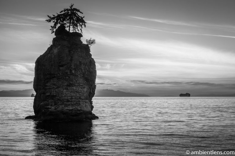 Siwash Rock, Stanley Park, Vancouver, BC 3 (BW)