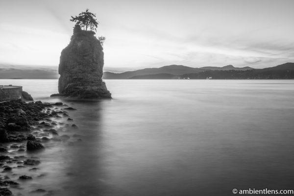 Siwash Rock, Stanley Park, Vancouver, BC 4 (BW)