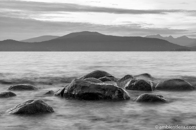 Big Rocks at Acadia Beach, Vancouver, BC 1 (BW)