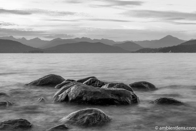 Big Rocks at Acadia Beach, Vancouver, BC 2 (BW)