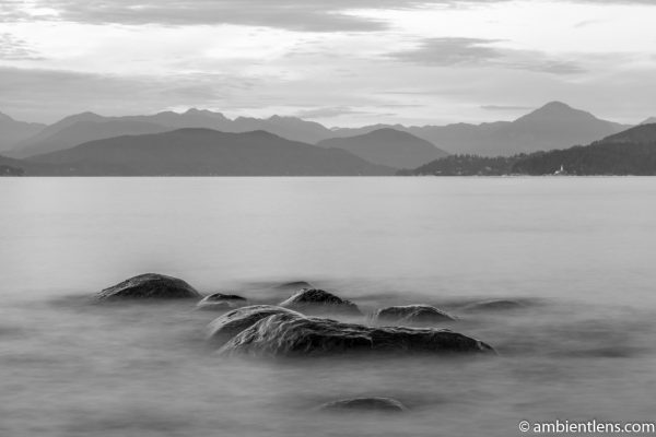 Big Rocks at Acadia Beach, Vancouver, BC 3 (BW)