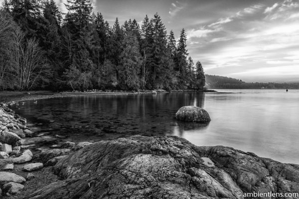 The Beach at Belcarra Regional Park, Anmore, BC 8 (BW)