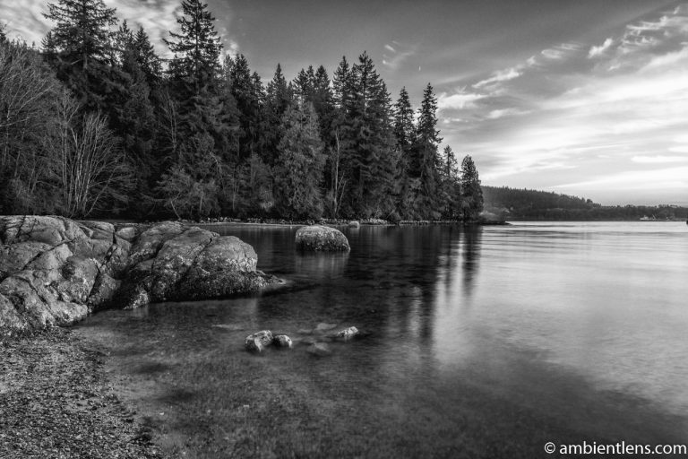 The Beach at Belcarra Regional Park, Anmore, BC 7 (BW)