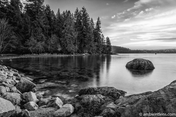 The Beach at Belcarra Regional Park, Anmore, BC 6 (BW)