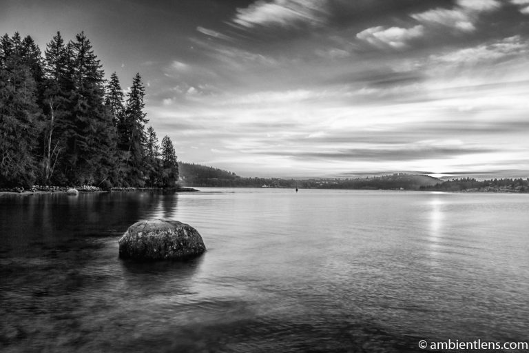 The Beach at Belcarra Regional Park, Anmore, BC 5 (BW)