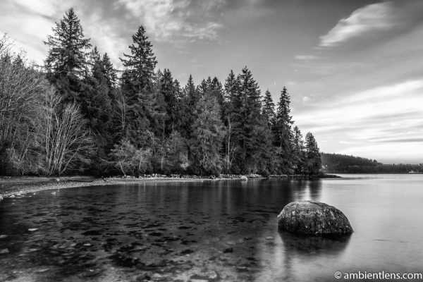The Beach at Belcarra Regional Park, Anmore, BC 4 (BW)