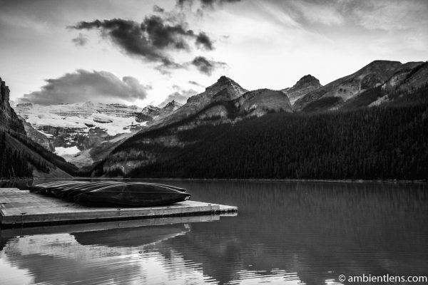 Canoes at Lake Louise, Banff, Alberta 1 (BW)