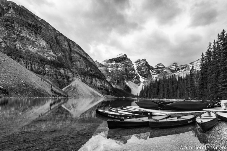 Canoes at Moraine Lake, Banff, Alberta (BW)