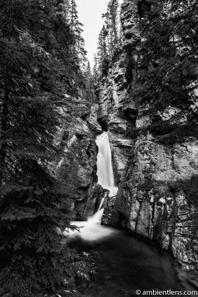 The Lower Falls at Johnston Canyon, Banff, Alberta 1 (BW)