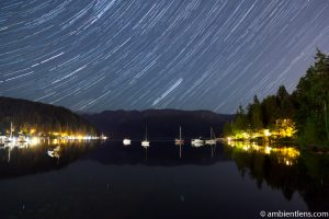Star Trails in Deep Cove, North Vancouver, BC, Canada
