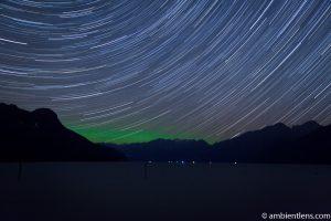 Star Trails and Aurora Borealis over Pitt Lake