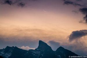 Sunrise and Moonset at Two Jack Lake, Banff, Alberta