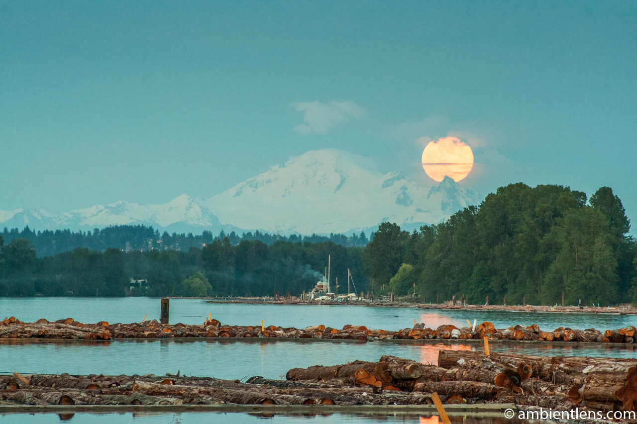 Moonrise over Mt. Baker and the Fraser River