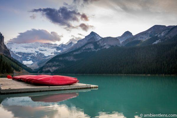 Canoes at Lake Louise, Banff, Alberta 1