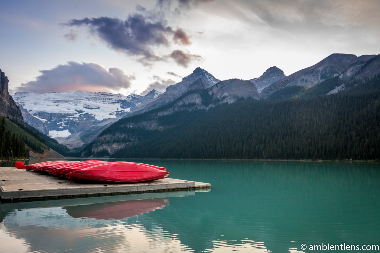 Canoes at Lake Louise, Banff, Alberta 1