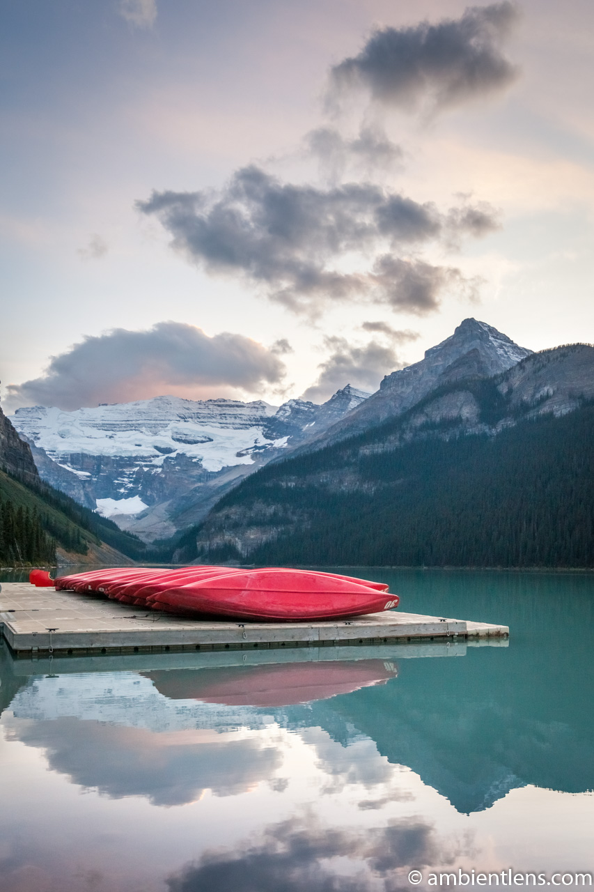 Canoes at Lake Louise, Banff, Alberta 2