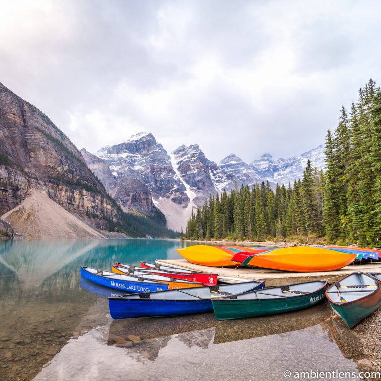 Canoes at Moraine Lake, Banff, Alberta (SQ)
