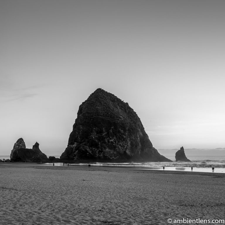 Haystack Rock at Sunset 1 (BW SQ)