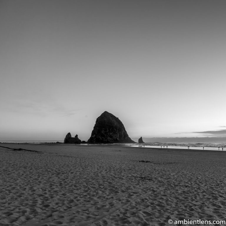 Haystack Rock at Sunset 2 (BW SQ)