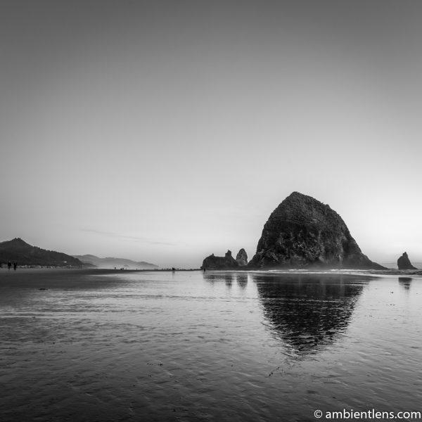 Haystack Rock at Sunset 4 (BW SQ)