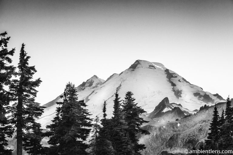 Tip of Mount Baker, WA (BW)