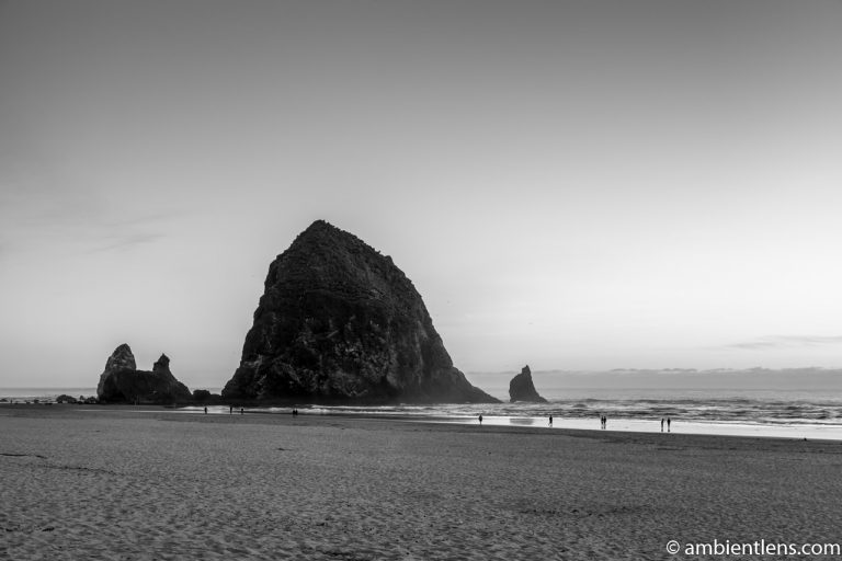 Haystack Rock at Sunset 1 (BW)
