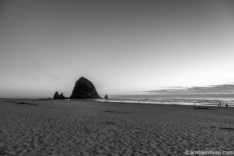 Haystack Rock at Sunset 2 (BW)