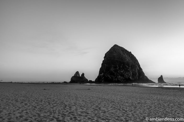 Haystack Rock at Sunset 3 (BW)