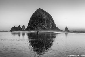 A Couple by Haystack Rock (BW)