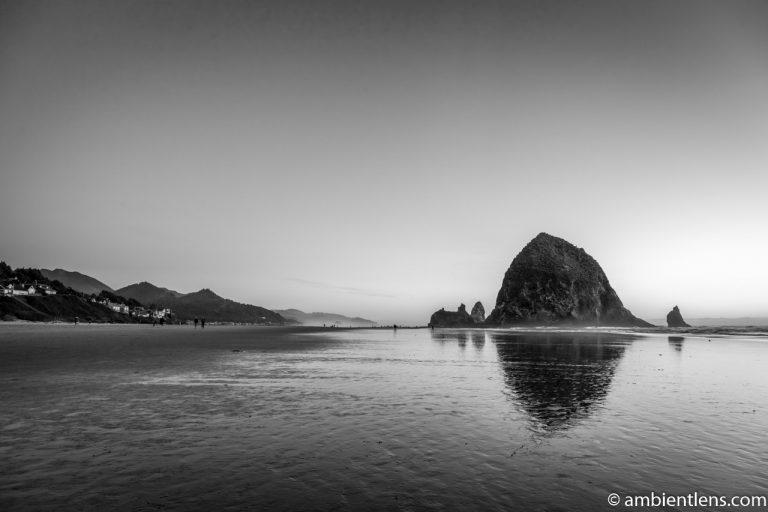 Haystack Rock at Sunset 4 (BW)